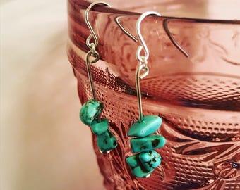 Turquoise sterling silver drop earrings
