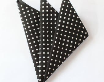 Hankie Pocket Square Handkerchief BLACK Polka Dot.Premium Cotton UK Made