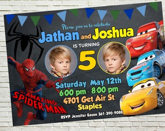 Sibling Birthday Invitations, Twins Invite, Dual Party, Double Invitations, Combined Birthday, Cars 3 and Spiderman, Thank you card free