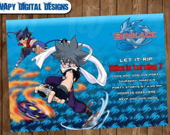 Beyblade Digital Party invitation customize invite birthday thank you card