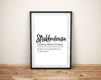Strikhedonia Definition - Printable Wall Art, Instant Download Poster