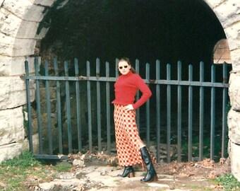Maxi length Evan Picone 1970's skirt