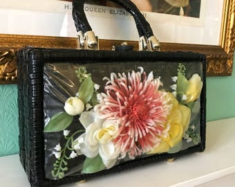 Stunning Vintage Black Wicker Floral Novelty Purse 1950s / 1960s - Chrysanthemum, Roses and Snowdrops