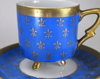 Vintage Demitasse Porcelain Footed Cup and Saucer