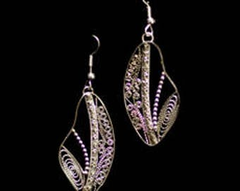 Silver Filigree Beaded Drop Earrings