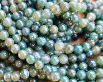 8mm Moss Agate beads, full strand, natural stone beads, round, 80044