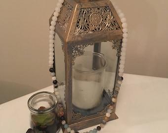 Boho glass beads with crystal