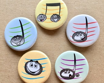 Music Note Button Pins - Set of 5