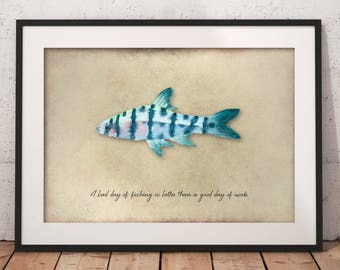 Fisherman Print, Fishing Wall Art, Fishing Lover, Vintage Fishing Print, Fish, Fishing, Fishing Sayings, Anglers, Gift for Fish Lovers