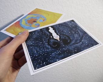 "Postcards ""Day & Night"" (Set of 2) | Woodcabin"