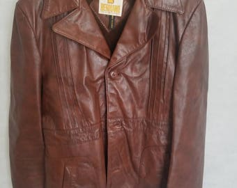 Men's Vintage Bermans, Dark Brown, Leather Coat w/Removeable Liner Size 42