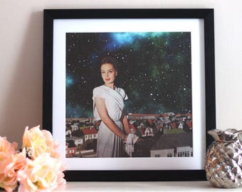 Space Lady - Digital Collage Art Print Poster