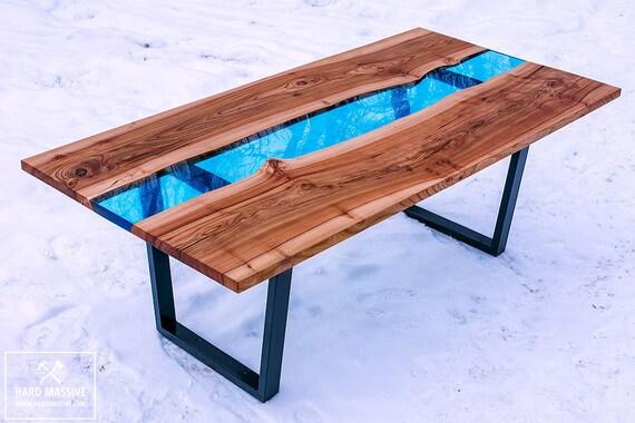 Mesa de resina r o epoxi madera mesa r o mesa mesa de for Resina epoxi madera