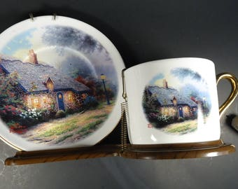 """Thomas Kinkade """"moonlight cottage"""" cup and saucer"""