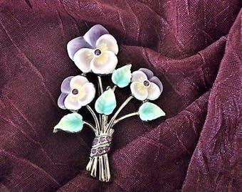 Vintage Monet Flowers Brooch