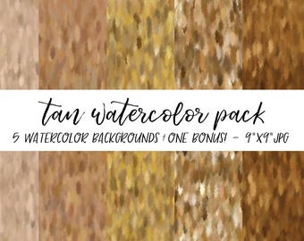 Watercolor Backgrounds Pack, Textures Bundle, Watercolor Digital Paper, Tan Watercolor Background, Watercolor Background, Brown Watercolor