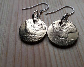 Capercaille earrings from silver and brass
