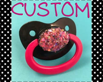 SPARKLY Adult Pacifier, DDLG Pacifier, ABDL Pacifier, Decorated Pacifier