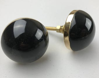 Stylish Large BLACK knob with GOLD SURROUND - home decor shabby chic upcycle drawer pull