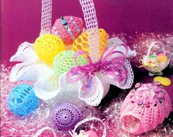 Vintage Crochet Patterns Lace Thread Crochet Easter Basket and Easter Eggs Nut Cups PDF Instant Digital Download