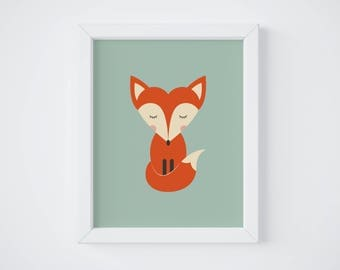 Fox Poster, Decor, Kid's Room, Baby, Birth Gift