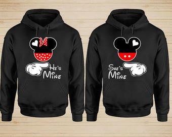 Mickey Minnie Disney Couple Hoodies, Couple Hoodies, Matching Couple Hoodies, Couple Sweatshirt, King and Queen Hoodies, Couple Sweater