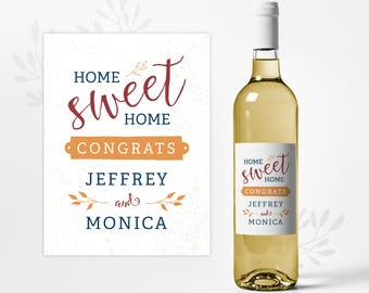 Housewarming Wine Bottle Label - Custom Realtor Gift with Personalized Name
