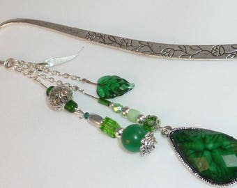 "Large bookmark Jewelry Silver Crystal ""drop green"""