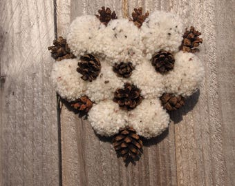 Rustic, Nature, Pinecone & Wool Hanging Heart - Speckled oatmeal Cream