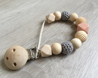 Pacifier clip, attach pacifier, accessory baby, natural wood beads, silicone and knitting, birthday gift, personalized