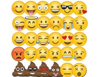 Emoji Clipart, 30 Emoji Clip Art, Emoji PNG, Instant Download