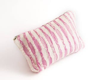 Handmade Striped Linen Cosmetic Bag