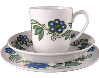 Susie Cooper 'Art Nouveau Blue' Cup Trio