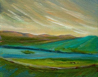 River Original Acrylic Painting Landscape Clouds