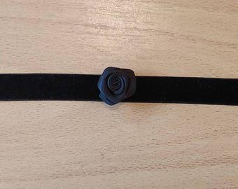 Black Velvet Choker With Black Satin Rose
