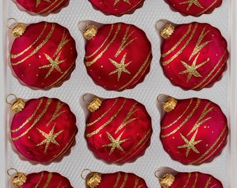 "Navidacio 12pcs Christmas Balls Ornaments Set ""Ice Red Gold"" Comet New"