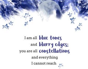 Blue Tones Poem // Quote Art // Poetry Print // Wall Art // Digital Print // Instant Download