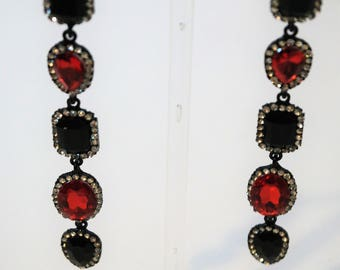 Crystal Chandelier Black and Ruby Red earrings
