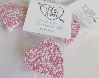 50 Love Is Sweet Chocolate Heart Personalised Wedding Favours