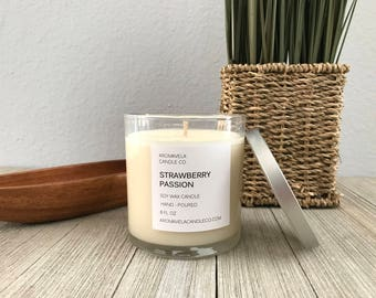 STRAWBERRY PASSION soy wax candle soy candle AromaVela Candle Co