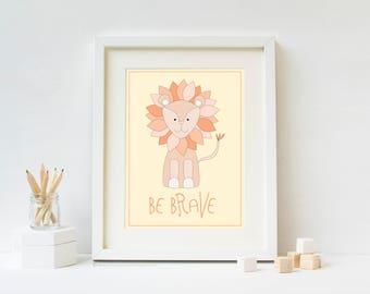 Be Brave Safari Nursery Art Print