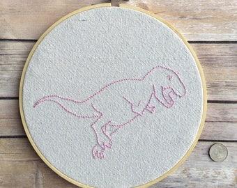 T-Rex dinosaur embroidery hoop art large size