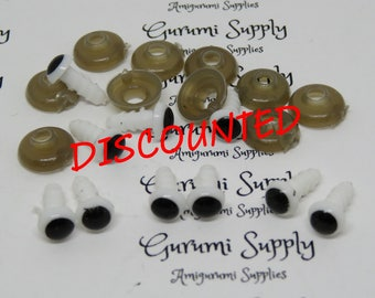 6mm Safety Eyes – White with Black Pupil and Washers – 10 count/ 5 pairs – Amigurumi / Handmade Creations/ Stuffed Toys/ Cartoon Eyes