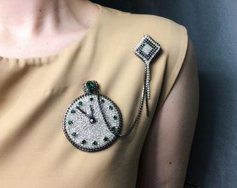 Bead art brooch Black silver brooch Watch brooch pin Crystal beads brooch Unique jewelry pin Women coat brooch Elegant gift mom