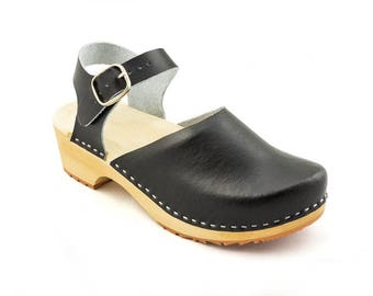 Leather clogs Black sandals Ankle Strap Sandals Wooden clogs swedish clogs Handmade clogs sandals Gift for women mules slippers  wood clog