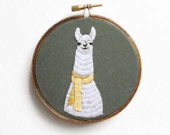 Llama with Scarf Embroidery
