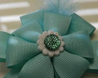 Hair Bow Barrette Boutique Accessory Mint Green Hair Bow Clip Teen Girls Hair Bow Feather Hair Bow Clip Fancy Feather Hair Bow