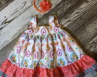 Little Girls Alice in Wonderland Ruffle Bow Dress