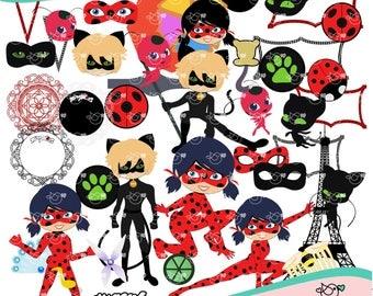 Ladybug and Cat Noir Clipart instant download PNG file - 300 dpi