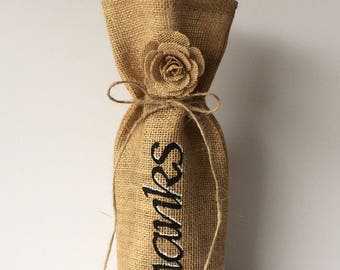 Thank you wine bottle bag . Hessian wine bag . Burlap wine bottle bag . Thank you gift bag . Floral bottle bag .